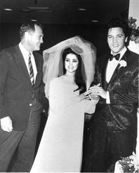 Las Vegas Sun founder Hank Greenspun with Priscilla and Elvis Presley at their wedding.