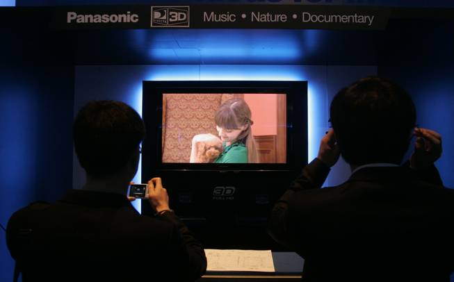Panasonic's TC-PVT25 series television is seen being used to demonstrate 3-D technology at CES Friday.