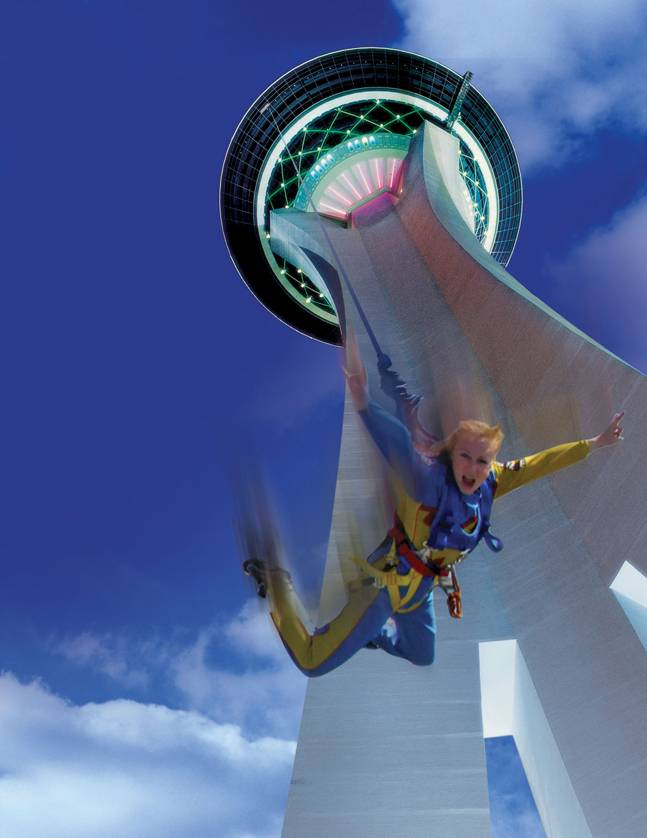 "The Stratosphere plans to charge $100 per jump after opening its ""SkyJump"" attraction in April. The Stratosphere released this promotional photo Friday."