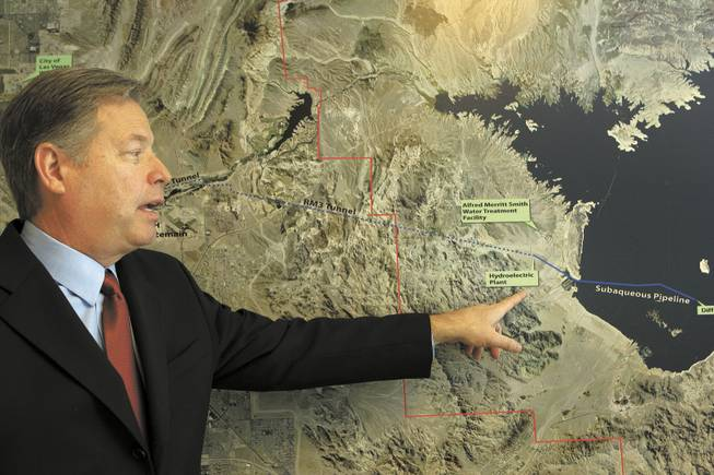 Chip Maxfield, general manager of the Clean Water Coalition, shows the path of the coalition's proposed pipeline to send treated wastewater to Lake Mead. Maxfield favors postponing the pipeline project -- not scrapping it -- so the effect of quagga mussels on the lake can be assessed.