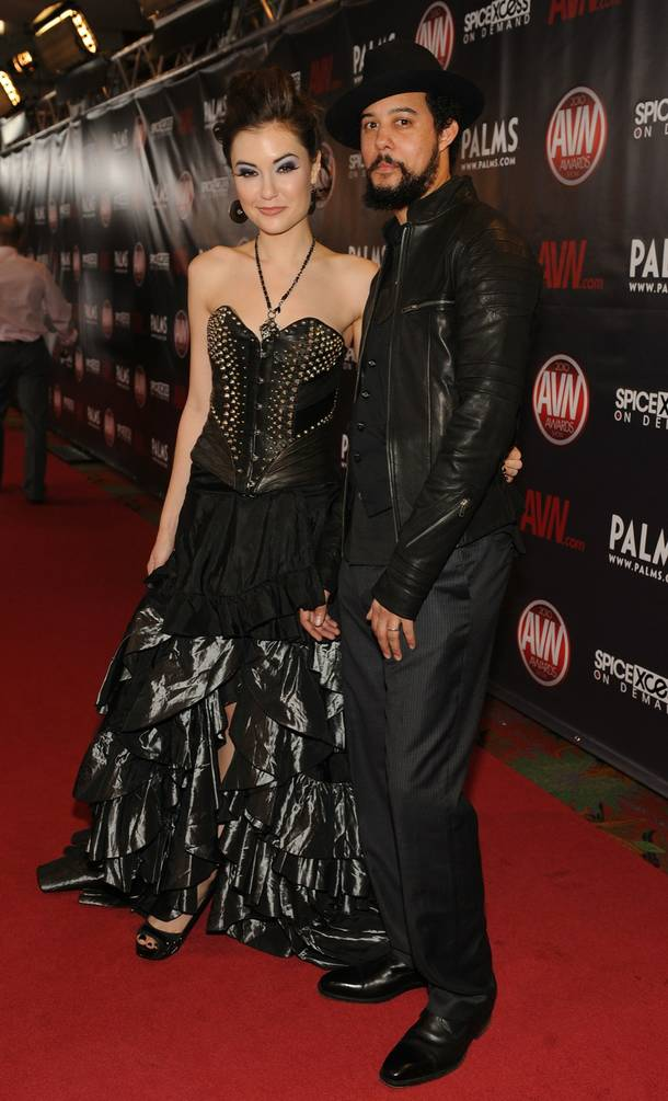 Sasha Grey and Ian Cinnamon arrive at the 2010 AVN Awards at The Pearl in the Palms on Jan. 9, 2010.