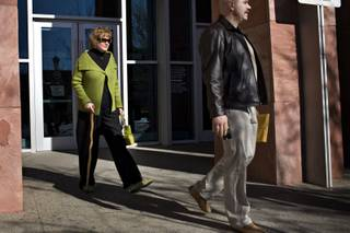 Former Clark County Recorder Frances Deane, left, leaves the Regional Justice Center in Las Vegas on Thursday, Jan. 14, 2010. Deane was sentenced to five years of probation on three felony counts stemming from a scheme to profit from her public office.