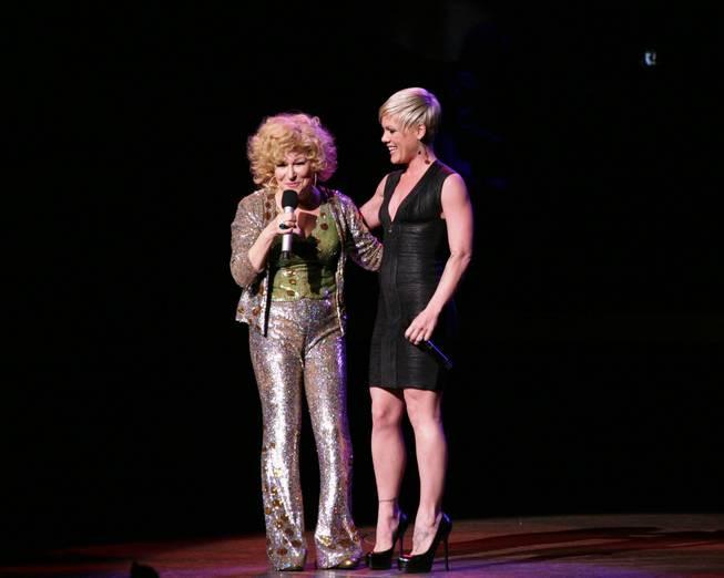 Pink, right, joins Bette Midler onstage at <em>The Showgirl Must Go On</em> in Caesars Palace.