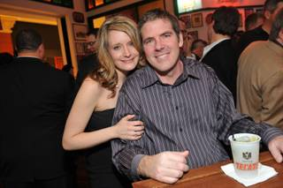 Megan Powell and Scott Frost at the grand opening of Hussong's Cantina at the Mandalay Place on Jan. 21, 2010.
