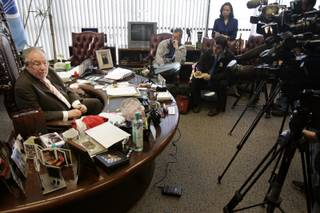 Mayor Oscar Goodman announced he will not be running for governor of Nevada during a press conference inside his office in downtown Las Vegas Monday, Jan. 25, 2010.