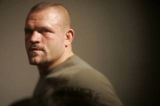 Chuck Liddell poses during an open media day for the eleventh season of 'The Ultimate Fighter' in Las Vegas.