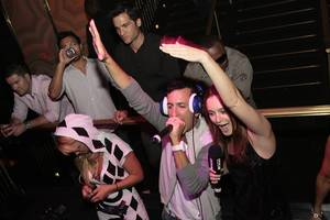 DJ Clinton Sparks parties with actress Leighton Meester at the Hard Rock Hotel.