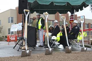 Prior to the ceremonious turning of dirt, Tony Ewalt of Sletten Construction speaks Wednesday during  the groundbreaking ceremony for the expansion of the Henderson Detention Center.