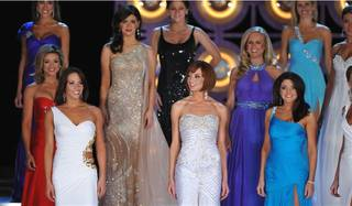 Contestants of the 2010 Miss America Pageant compete in the first evening of preliminary competition at Planet Hollywood on Jan. 26, 2010.