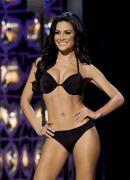 Miss Puerto Rico Mimi Pabon competes in the Lifestyle & Fitness portion of the 2010 Miss America Pageant preliminary competition at Planet Hollywood on Jan. 26, 2010.