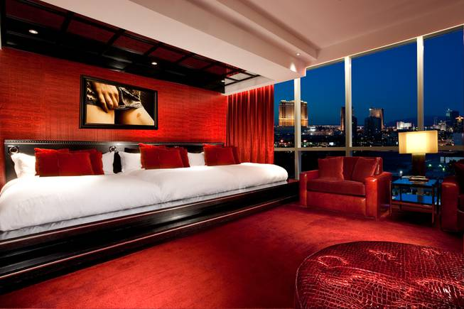 A view of the bedroom of the Provocateur suite at the Hard Rock.