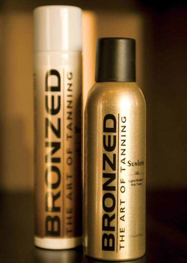 "Hunter says a spray tan typically lasts five to eight days, but sometimes a touch-up is required at the last minute, when clients can't make it back to the salon. The solution? Bronzed Tan Spray Cans. The cans are specially formulated for every skin tone (medium to light and medium to dark) and are as close as you'll come outside the salon to Hunter's magic touch. Available at Bronzed, salons at Caesars Palace and Treasure Island, and online at <a href=""bronzedtan.com"">bronzedtan.com</a>."
