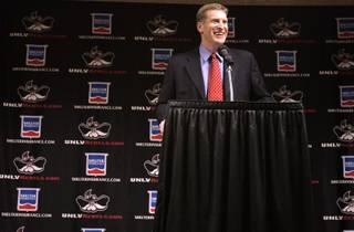 UNLV football coach Bobby Hauck annouces the list of recruits for UNLV on National Signing Day in Las Vegas Wednesday, February 3, 2010.
