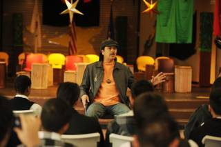 Carlos Santana speaks to students of the Andre Agassi College Preparatory Academy on Feb. 4, 2010.