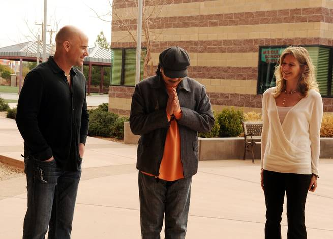 Andre Agassi, Carlos Santana and Steffi Graf take a tour of the Andre Agassi College Preparatory Academy on Feb. 4, 2010.