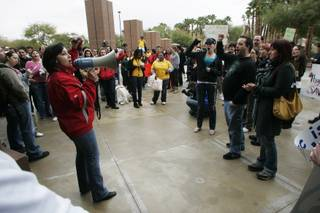 UNLV students protest proposed budget cuts Tuesday, February 9, 2010.