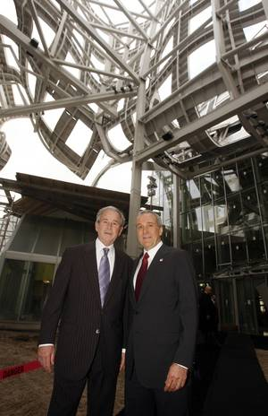 Former President George W. Bush is given a tour of the Cleveland Clinic Lou Ruvo Center for Brain Health by Larry Ruvo on Feb. 10, 2010.