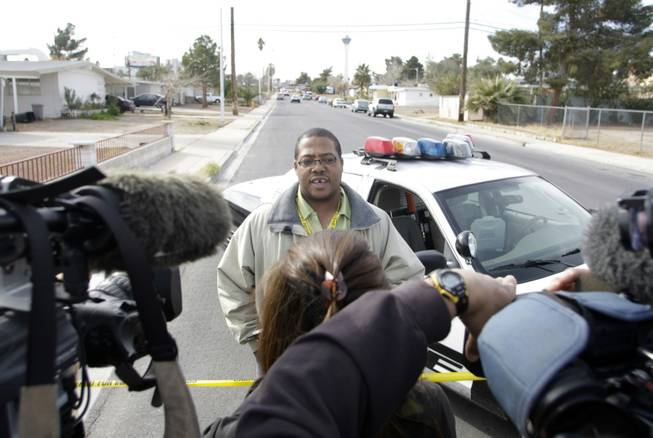 Metro Police Homicide Lt. Lew Roberts speaks to reporters as police investigate an assault that left a child dead near San Pedro Avenue and 17th Street Thursday, Feb. 11, 2010.
