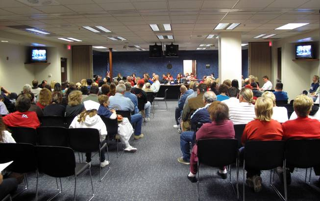 People filled an overflow room at the Grant Sawyer Building for a town hall meeting Saturday on the state budget.