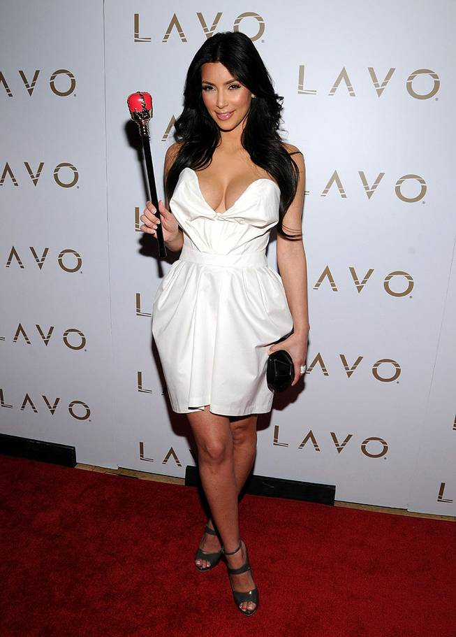 Kim Kardashian hosts the Queen of Hearts Ball with Reggie Bush at Lavo in the Palazzo on Feb. 13, 2010.