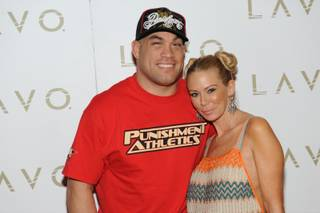 Tito Ortiz and Jenna Jameson arrive at Ortiz's 35th birthday party at Lavo in the Palazzo on Feb. 7, 2010.