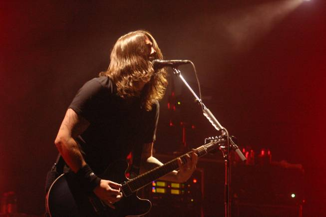 The Foo Fighters perform during a semi-surprise AG Jeans party Tuesday, Feb. 16 at Rain Nightclub at The Palms.