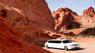 Bride Nina Kornblum and groom Alexander Kraft, from Bochum, Germany, arrived at the Valley of Fire in a limousine for their wedding. The bridesmaid was Octavia Winkler and the best man was Philip Mensing.