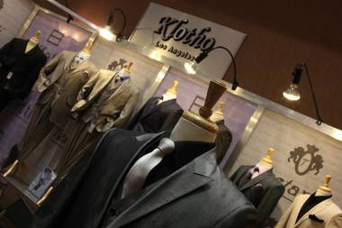 A cotton suit from Klitho of Los Angeles on display at the MAGIC Marketplace trade event at Mandalay Bay on Wednesday.
