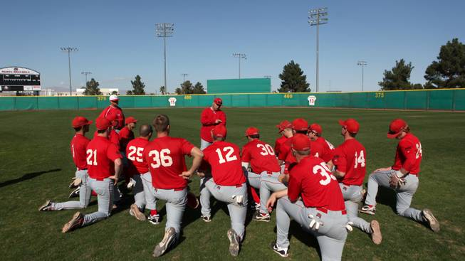 UNLV baseball coach Buddy Gouldsmith instructs his team during practice at Earl E. Wilson Stadium Wednesday.  The Rebels open up the season Friday against Sacramento State.