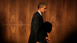 President Barack Obama leaves the stage after addressing the Las Vegas Chamber of Commerce and LVCVA at the Aria Resort and Casino on Friday.