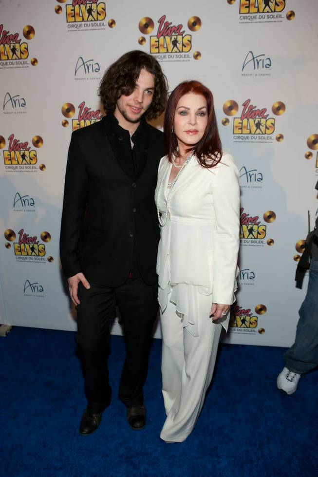 Priscilla Presley and her son Navarone Garibaldi on the blue carpet for the <em>Viva Elvis</em> world premiere at Aria in CityCenter on Feb. 19, 2010.