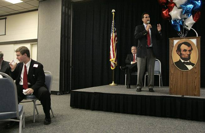 Senate candidate Danny Tarkanian gives a speech during a Lincoln Day dinner in Fallon Saturday, February 20, 2010.