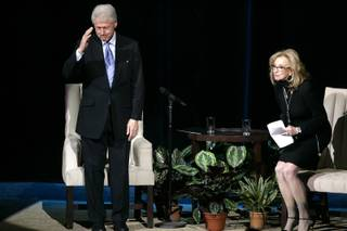 Former President Bill Clinton sits down to answer questions with Jan Jones, senior vice president of communications and government relations for Harrah's Entertainment in front of a crowd of Harrah's employees at the Colosseum at Caesars Palace in Las Vegas Monday Feb. 22, 2010.