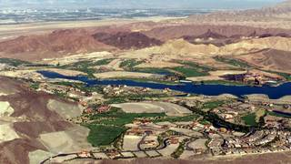 An aerial view of Lake Las Vegas taken from the National Parks Service patrol plane Tuesday, July 17, 2001.