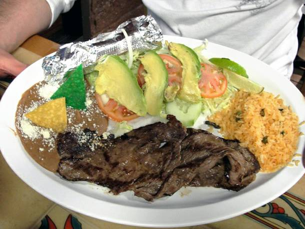 The restaurant serves more than gorditas. This carne asada plate is a generous meal for one.