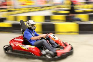 Las Vegas native and NASCAR driver Kurt Busch drives the go-karts at Pole Position Raceway in Las Vegas on Thursday.