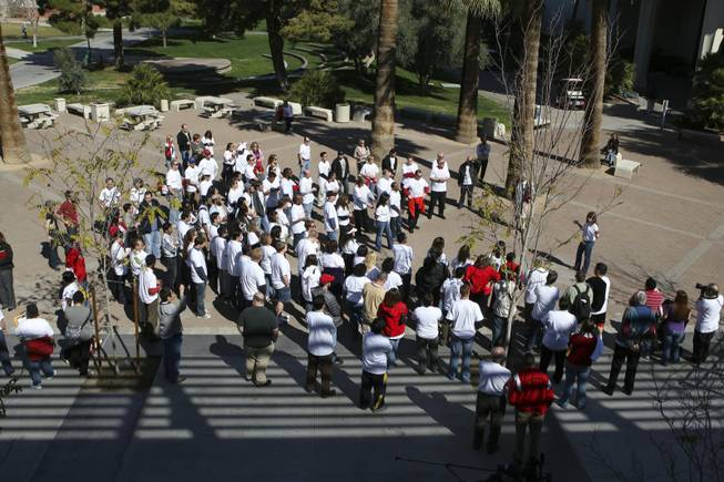 Students, alumni and staff gather in the courtyard of the student union in support of the Engineering Department during a budget rally Friday, March 5, at the UNLV campus.