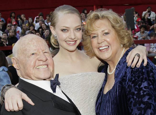 Mickey Rooney, Amanda Seyfried and Jan Rooney arrive at the 82nd Academy Awards Sunday,  March 7, 2010, in the Hollywood section of Los Angeles.