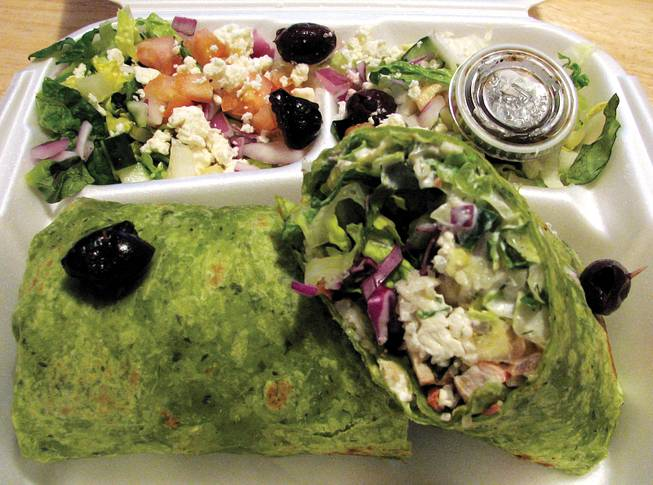 Pomegranate chicken wrap: a whole lot of deliciousness.