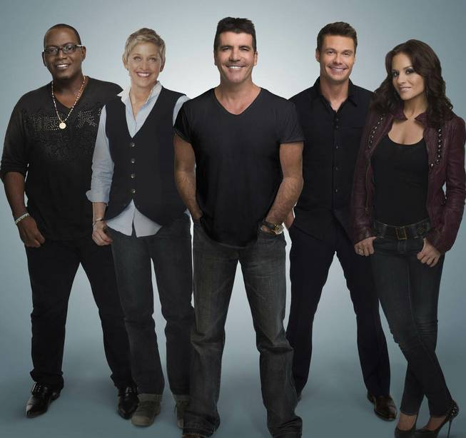 <em>American Idol</em> Season 9 judges Randy Jackson, Ellen DeGeneres, Simon Cowell and Kara DioGuardi with host Ryan Seacrest, second from right.