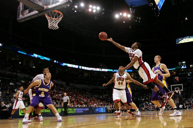 UNLV guard Oscar Bellfield puts up a shot against UNI during their first round NCAA Basketball Tournament game Thursday, March 18, 2010 at the Ford Center in Oklahoma Ctiy. UNI won the game 69-66 on a last second three-point shot.