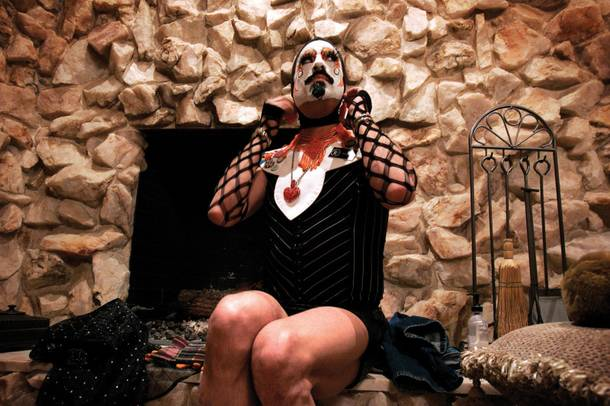 Daniel Roybal gets into his clothing as Sister Gloria-Areola All Over Glutony, at another Sister's house, to prepare for an event hosted by the Sin City Sisters of Perpetual Indulgence at the Funhog Ranch in Las Vegas Saturday, March 20, 2010.