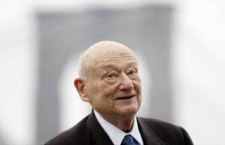 In this March 23, 2010 file photo, former New York Mayor Ed Koch speaks during a publicity event in New York. Koch says he and has his New York Uprising group are securing commitments from several candidates for governor to improve the critical redistricting process if elected.
