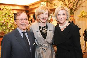 Dr. Aniuello Musella, the Italian trade commissioner to the U.S., Valerie Salembier, publisher of <em>Harpers Bazaar</em> and Elaine Wynn at Outfit on March 25, 2010.