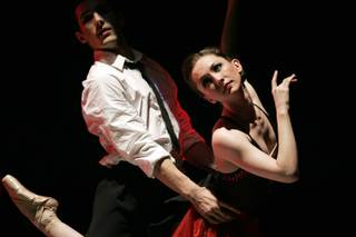 Jeremy Bannon-Neches and Rebecca Brimhall perform during Nevada Ballet Theatre's dress rehearsal for