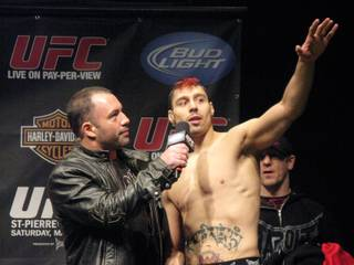 England's Dan Hardy is interviewed by Joe Rogan after making weight on Friday, March 26, 2010, at the Prudential Center in Newark, N.J., in advance of his UFC 111 fight against  Canadian welterweight champion Georges St. Pierre.