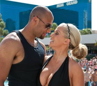 Hank Baskett and Kendra Wilkinson at MGM Grand's Wet Republic Ultra Pool on March 27, 2010.