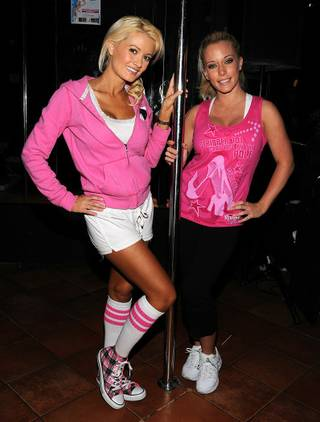 Holly Madison and Kendra Wilkinson at Stripper 101 at the V Theater in Planet Hollywood's Miracle Mile Shops.