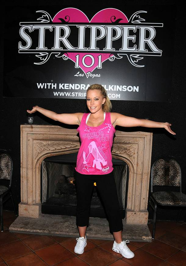 Kendra Wilkinson teaches Stripper 101 at the V Theater in Planet Hollywood's Miracle Mile Shops.