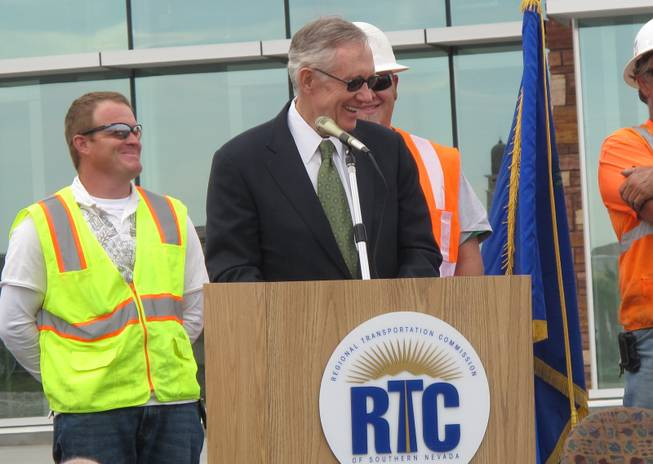 Senate Majority Leader Harry Reid speaks at the grand opening of the Centennial Hills Transit Center on 7313 Grand Montecito Parkway Monday, March 29, 2010.